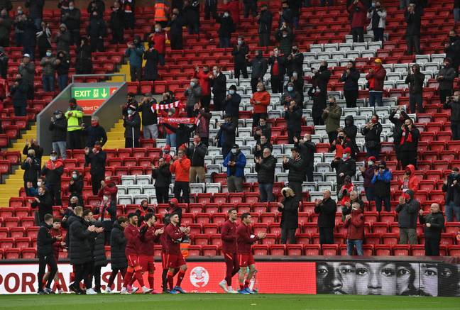 Liverpool players applaud their fans after playing Crystal Palace on the final day of the season. Image: PA Images