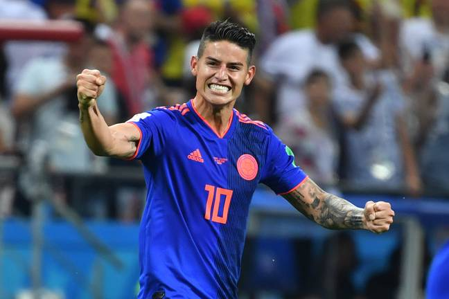 Rodriguez was back playing in a World Cup in Russia. Image: PA Images