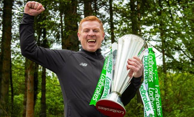 Neil Lennon with Celtic's latest Scottish title, not the usual celebrations. Image: Celtic FC