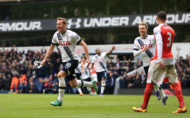 Kane's got a knack of scoring against Arsenal. Image: PA Images.