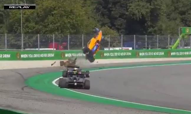 Peroni appeared to be unhurt by the crash, his team have said. Credit: Fox