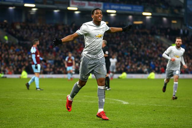 Martial celebrates scoring a goal for United. Image: PA