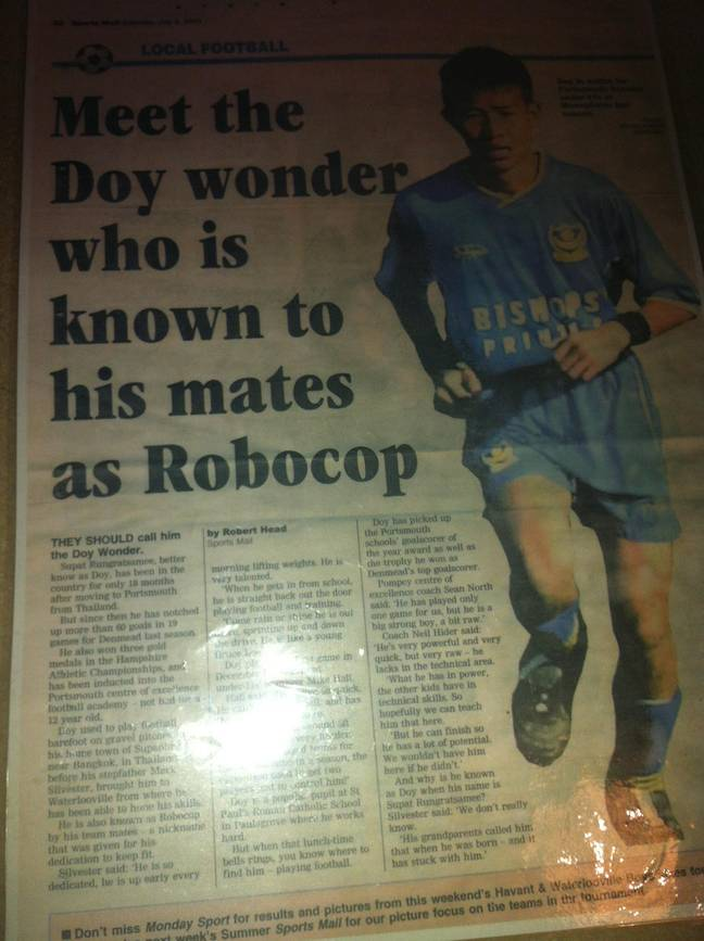 Rungratsamee has kept this news clipping from his days at Portsmouth.