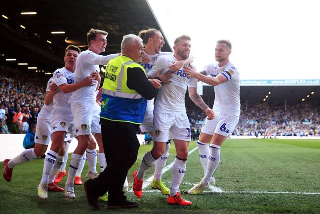 Leeds celebrate Stuart Dallas' goal. Image: PA Images