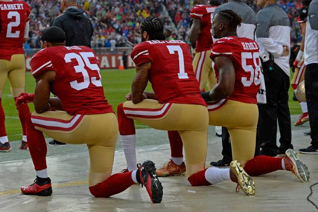 Colin Kaepernick first took a knee in the NFL in a stand against police brutality and racial injustices. Credit: PA