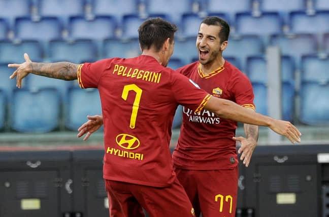 Mkhitaryan celebrates his first goal for Roma. Image: PA Images