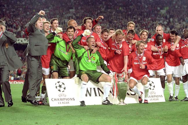 United celebrate their triumph. Image: PA Images