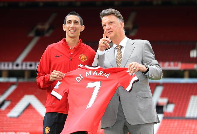 Van Gaal pointing at a plane that might take him and Di Maria away from Old Trafford. Image: PA Images