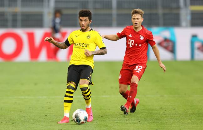 Sancho was a second half substitute for Dortmund against Bayern on Tuesday evening. Image: PA Images