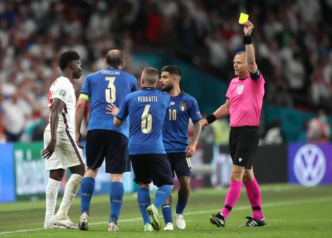 Giorgio Chiellini escaped with only a booking despite yanking Bukayo Saka down to the floor