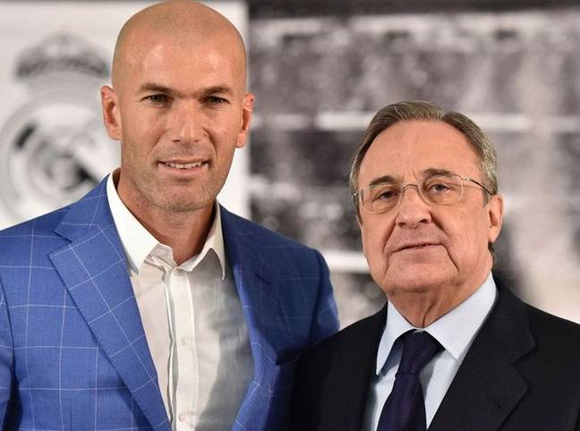 Zidane with club president Florentino Perez. Image: PA Images
