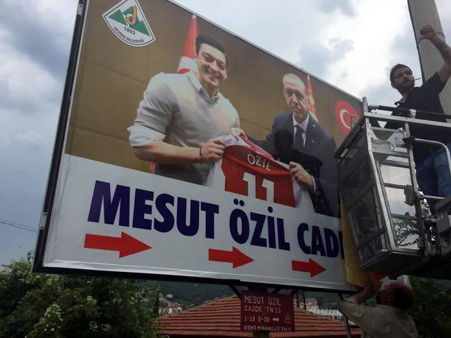 Ozil's picture was used as part of the election campaign. Image: PA Images
