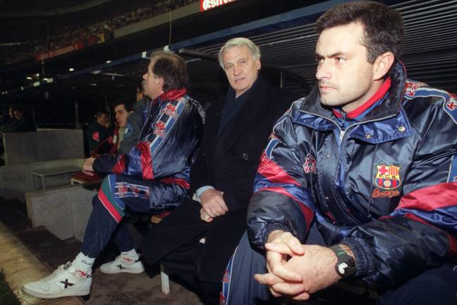 Robson and Mourinho at Barcelona in 1997 (Image Credit: PA)