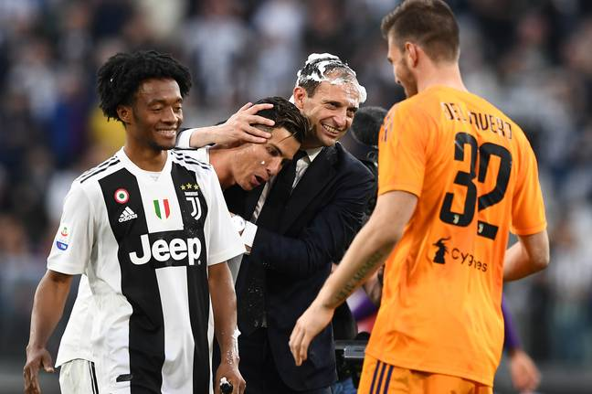 Allegri and Ronaldo celebrate winning Serie A. Image: PA Images
