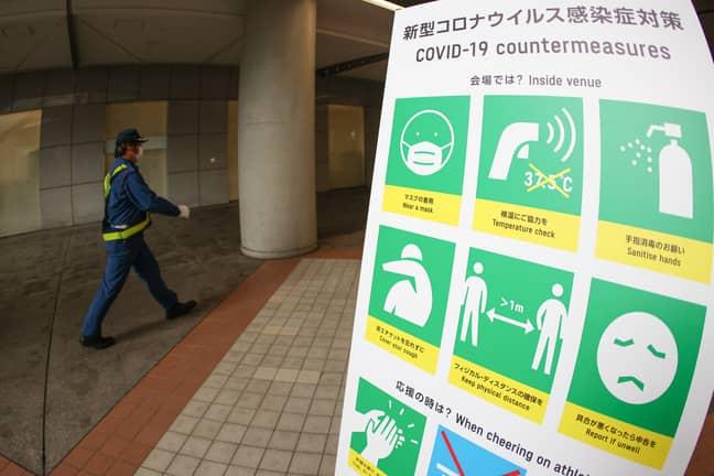 Tokyo Coronavirus restrictions sign (Credit: PA)
