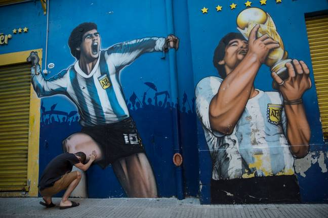A fan mourns the loss of the Argentine world cup winner. Credit: PA