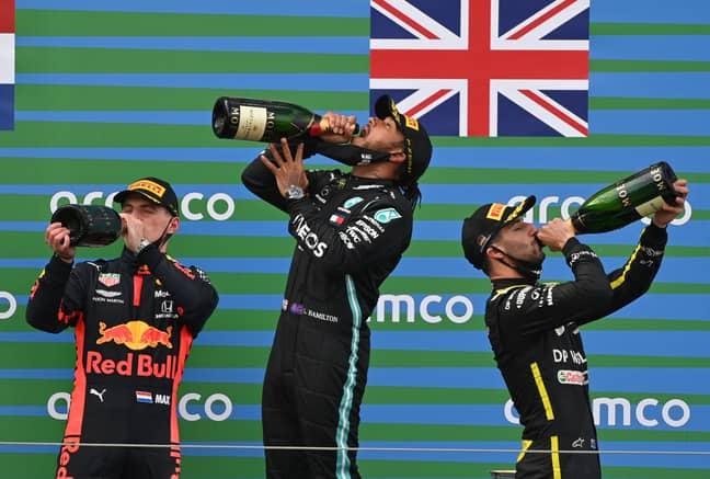 Daniel Ricciardo joined Max Verstappen and Lewis Hamilton on the podium. Credit: PA