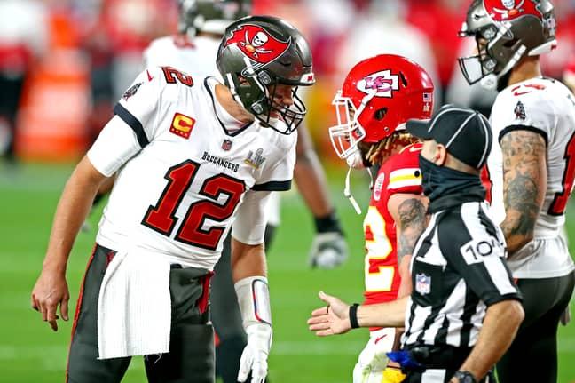 Tom Brady and Tyrann Mathieu. Credit: PA
