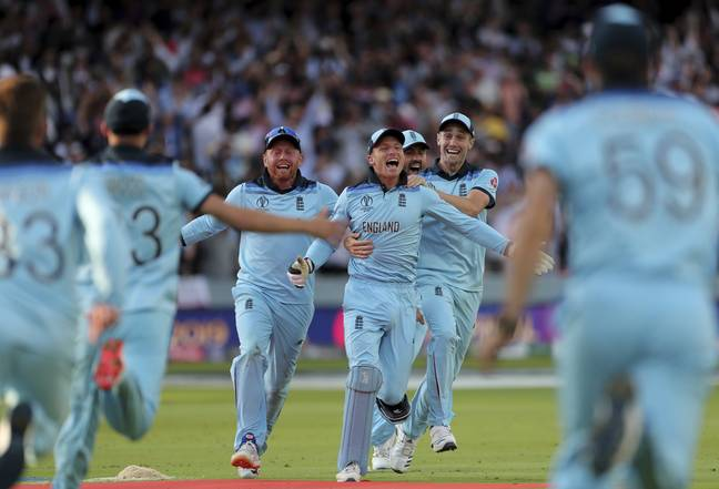 England players mob Jos Buttler after he ran out Martin Guptill. Image: PA Images