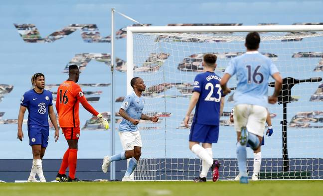 Sterling celebrates the opening goal. Image: PA Images