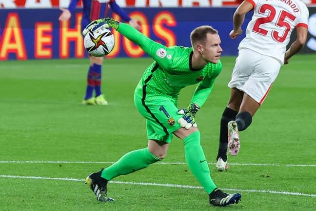 Ter Stegen in action against Sevilla. Image: PA Images