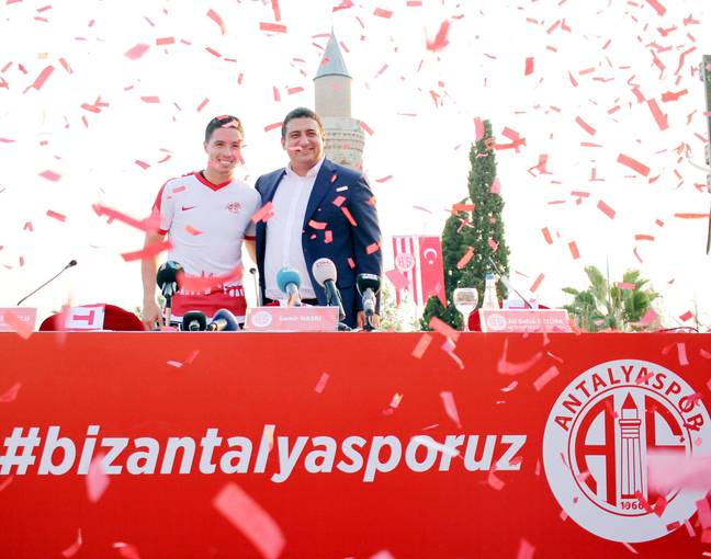 Positive scenes followed Nasri's arrival in Turkey. Image: PA Images.