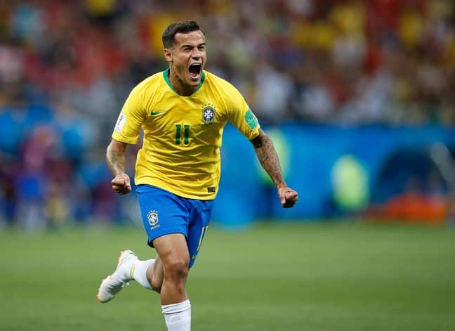 Coutinho wheels away in celebration. Image: PA