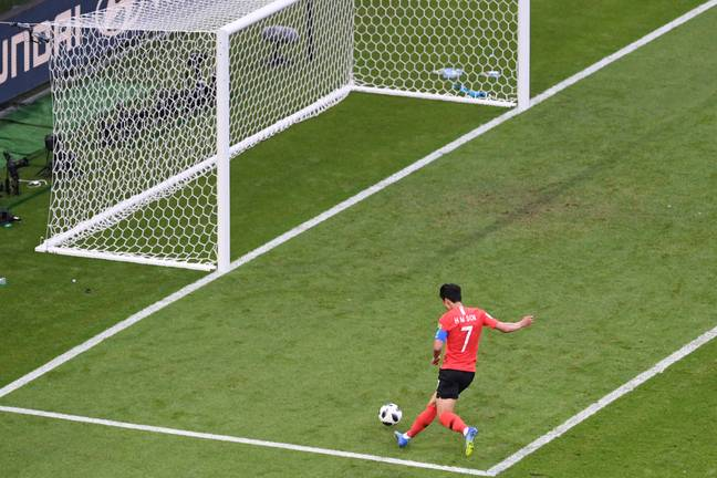 Son scoring against Germany in last summer's World Cup. Image: PA Images