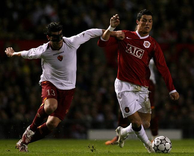 Ronaldo battles for the ball during the 7-1 win. Image: PA Images