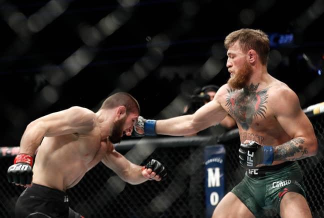 McGregor lands a punch on Khabib. Image: PA Images