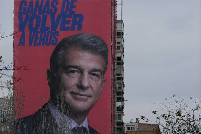 Laporta on a campaign banner outside of the Bernabeu. Image: PA Images