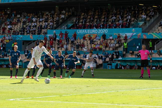 Morata misses the penalty against Slovakia. Image: PA Images