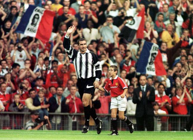 Cantona started the game for Europe XI, before switching at half-time. Image: PA Images