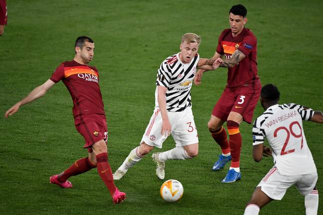 Van de Beek in action during last season's Europa League clash with Roma (Image Credit: PA)