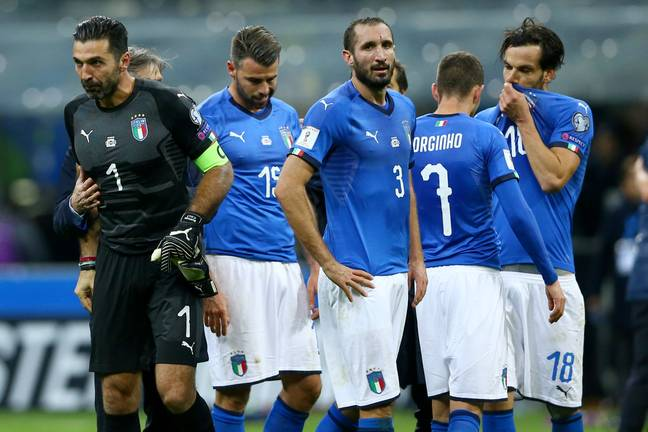 Italy players fail to hide their emotions after being knocked out of the World Cup. Image: PA Images