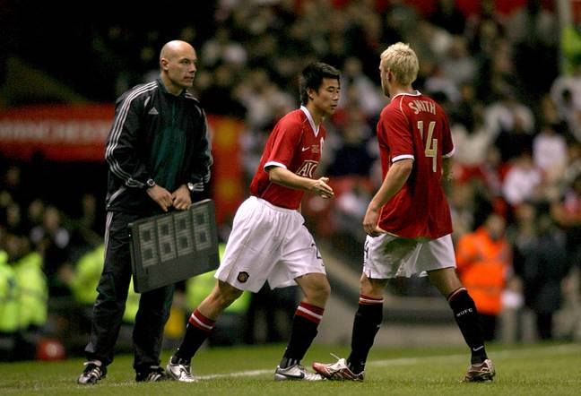 Dong comes on as a substitute for Alan Smith. Image: PA Images