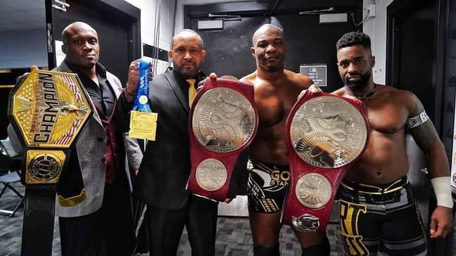 The Hurt Business (L-R: Bobby Lashley, MVP, Shelton Benjamin & Cedric Alexander) Image Credit: WWE