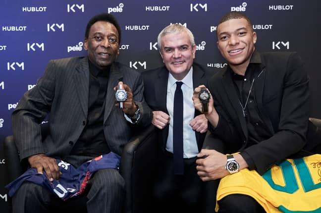 Pele with Paris Saint-Germain forward Kylian Mbappe at a promotional event. (Image Credit: PA)