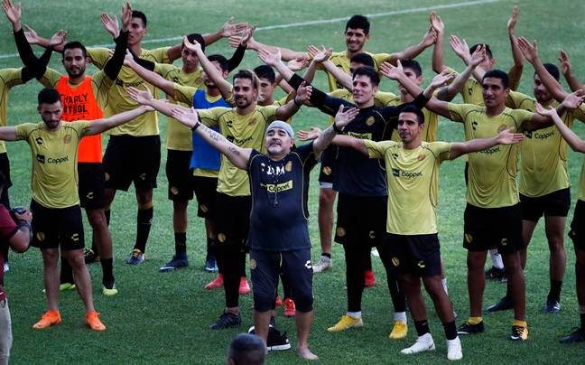 Diego Maradona, or the hotel rep who's too old for the job taking the residents for aerobics. Image: PA Images