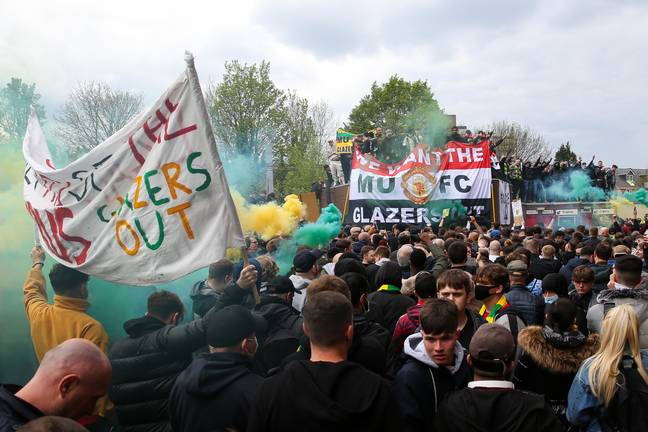 Fans protesting the Glazers last week. Image: PA Images