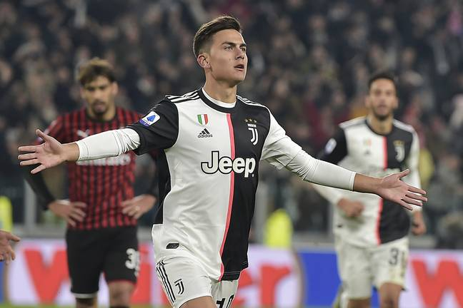 Dybala scores the winner against Milan. Image: PA Images