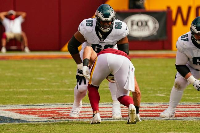 Jordan Mailata lined up against second overall pick Chase Young and the Washington defence. Credit: PA