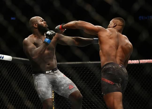 Ngannou, right, ended his latest fight inside a minute. Image: PA Images