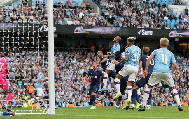 Moura heads Spurs level. Image: PA Images