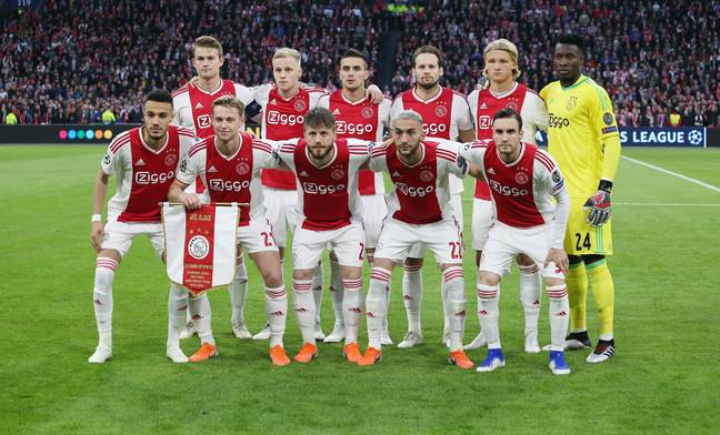 Ajax's line-up for their second leg tie against Spurs last season. (Image Credit: PA)