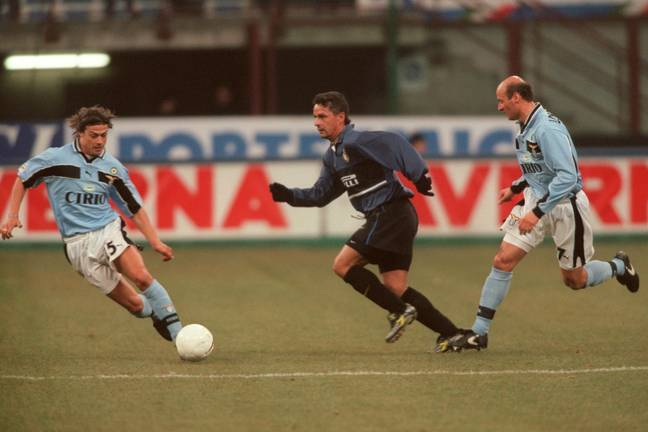 Roberto Baggio, another icon of 1990's Serie A, also put on Inter's famous blue and black. Image: PA Images