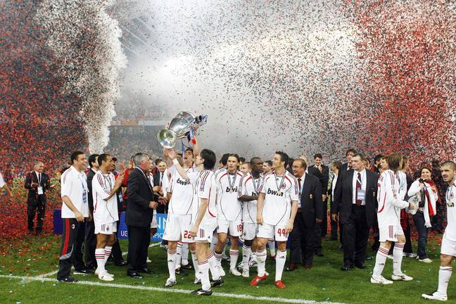 After beating United, Milan went on to win the Champions League in Athens. Image: PA Images