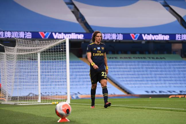 Luiz walks off after being sent off against City last season. Image: PA Images
