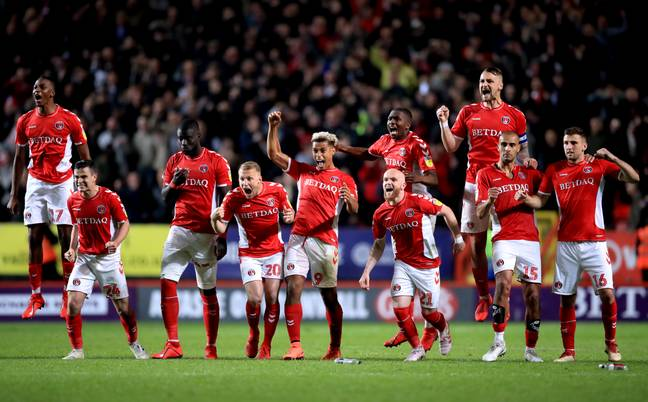 Utter scenes after Charlton win their shootout. Image: PA Images