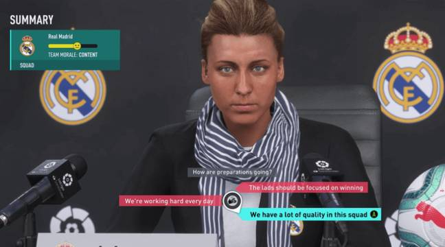 The manager sitting down for a press conference. Image: EA Sports